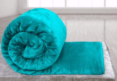 TEAL BLUE COLOUR SUPER SOFT PLUSH MINK THROW